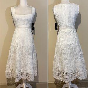 NWT Lulu's White Lace Crochet A-Line Midi Dress XS